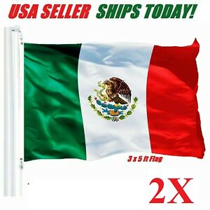 2pcs-3-039-x-5-039-ft-Polyester-Mexican-Flag-Pennant-Bandera-New-bandera-de-mexico