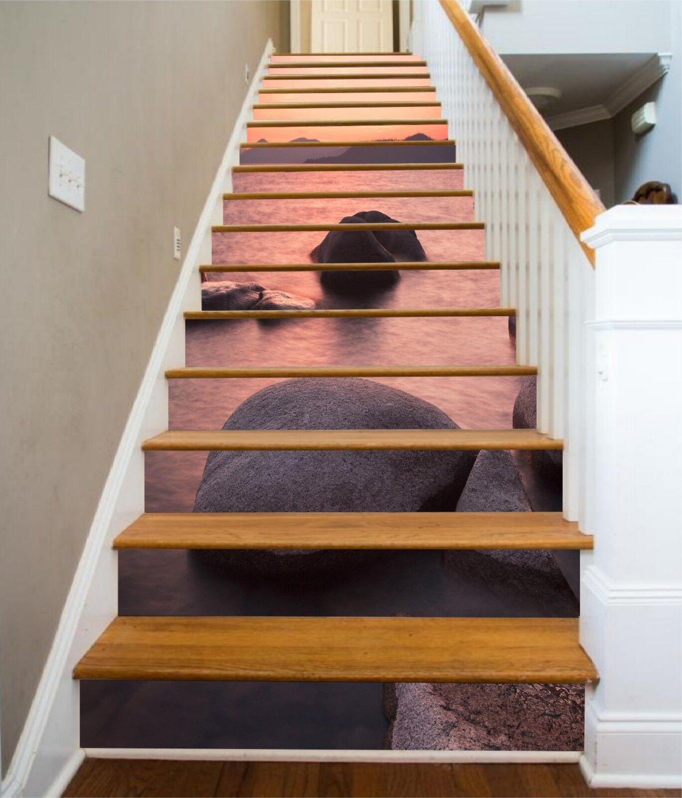 3D See Steine 296 Stair Risers Dekoration Fototapete Vinyl Aufkleber Tapete DE