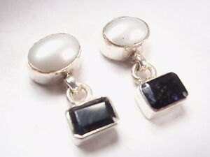 Iolite-and-Cultured-Pearl-925-Sterling-Silver-Stud-Earrings