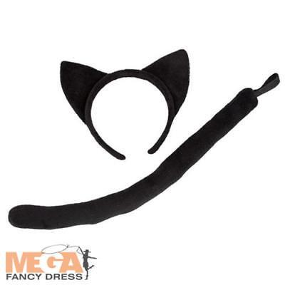 Iniziativa Gatto Nero Orecchie + Coda Adulti Costume Halloween Donna Costume Accessorio Nuovo-