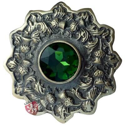 "Men/'s Celtic Kilt Fly Plaid Brooch Red Stone Antique Finish 3/""//Scottish Brooches"