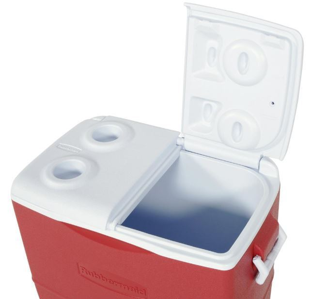 50 Qt Ice Chest Cooler BPA Free Split Lid Cup Holders Leak Odor Stain Resistant