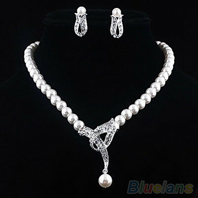 Women's New Perfect Faux Pearl Crystal Choker Necklace Earrings Jewelry Set
