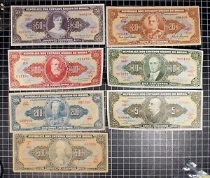 BRASIL-Bank-Note-lot-of-7-World-Foreign-World-Currency-Latin-America-Cruzeiro