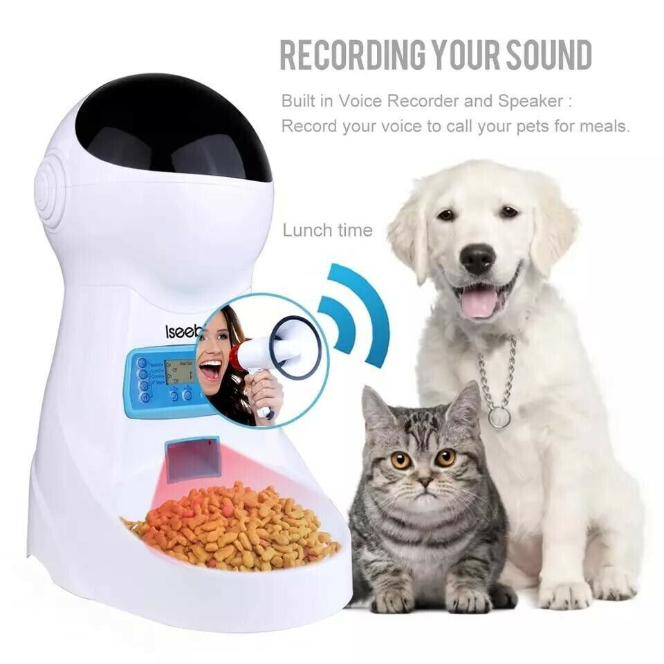 Pet feeder Iseebiz 3L with voice record for pet food bowl for small medium sized