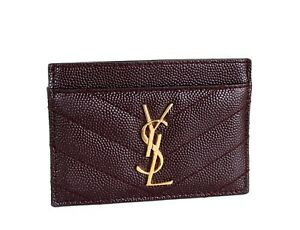4a237634f YSL Card Case in Box with Tags Saint Laurent Matelasse Dark Red ...