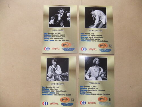 THE MONKEES CORNERSTONE SET OF 4 CHASE CARDS FACSIMILE AUTOGRAPH NESMITH DOLENZ