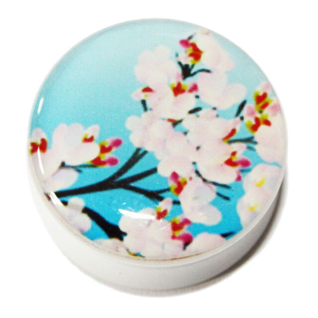 """Beautiful Pink Cherry Blossom White Double Flared Flesh Tunnel 5mm - 25mm 1"""""""