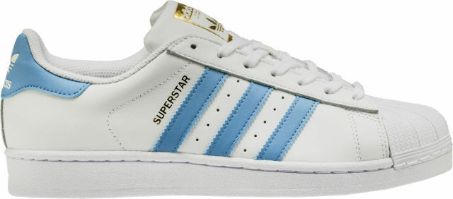 Adidas Original Men's Superstar NEW AUTHENTIC White/Light Blue/Gold BY3716