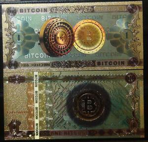 Un-dinero-de-Bitcoin-1-BTC-billetes-Coleccionables-24-quilates-de-oro-plateado