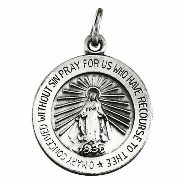 1 Inch Size of a Quarter Solid 14K White Gold Scapular Religious Medal
