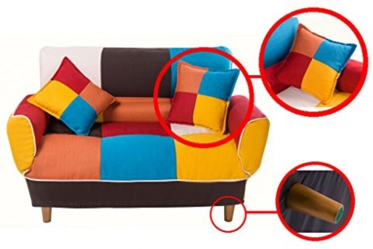 Merax Adjustable Sofa And Loveseat In Colorful Line Fabric Home Furniture  Fold D | EBay