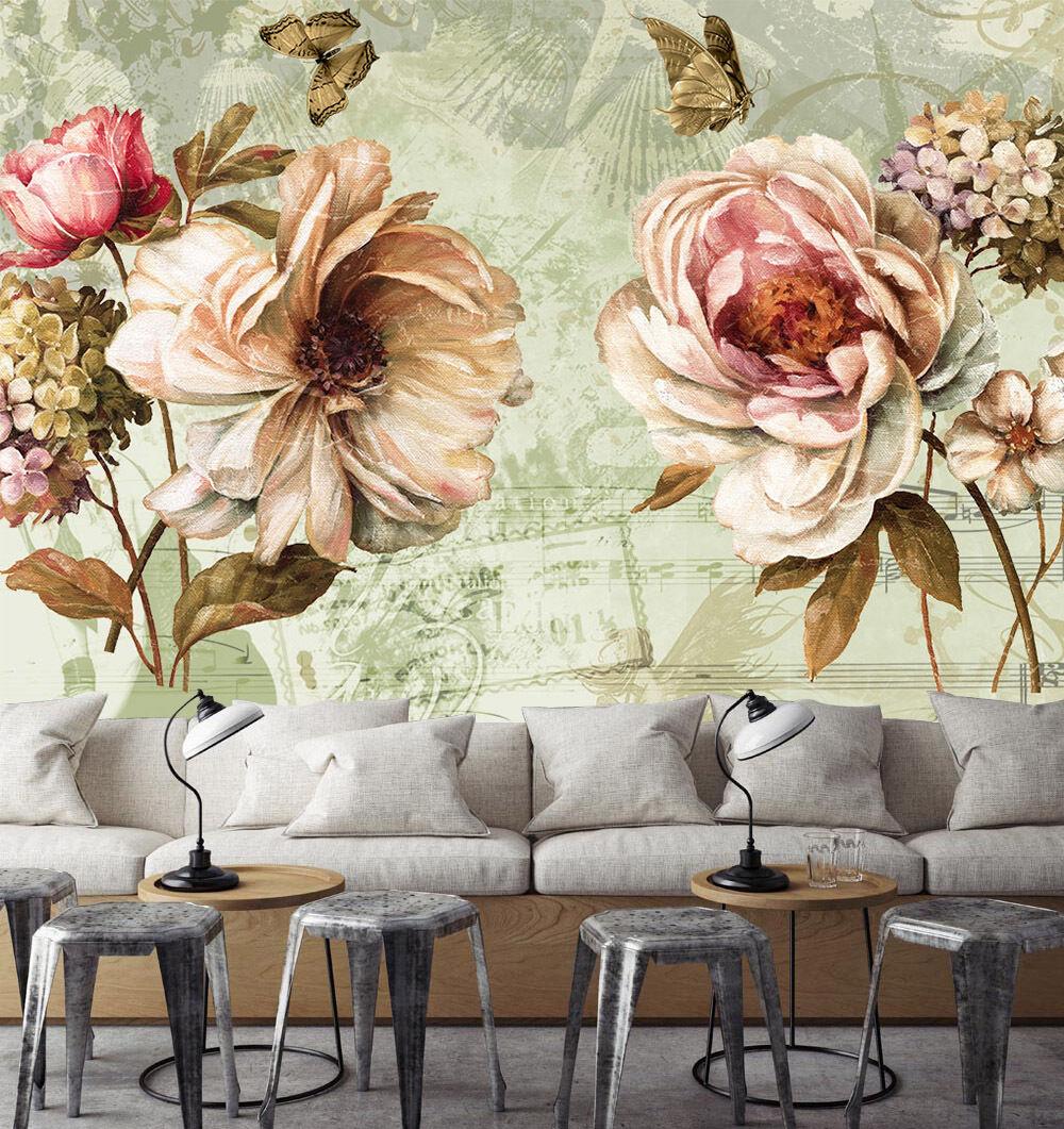 3D Pivoine Rose 6 Photo Peint en Autocollant Murale Plafond Chambre Art