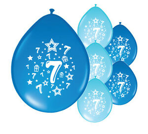 Details About 10 X 7th BIRTHDAY BOY BALLOONS 7 TODAY MIX BLUE PA