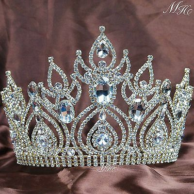 Awesome Beauty Pageant Crowns Clear Crystal Tiaras Gold Tone Brides Hair Jewelry