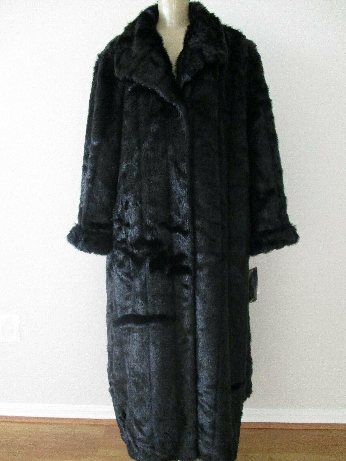 320 PAMELA MCCOY Negro Imitación Rur  abrigo mangas largas de longitud completa Tamaño Extra Extra Pequeño-Nuevo con etiquetas  envío gratis