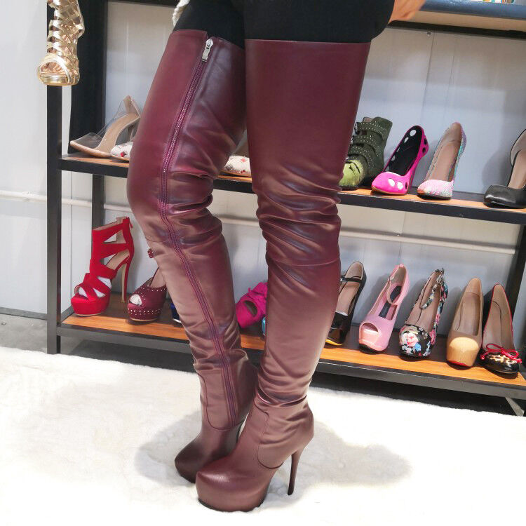 SUPER SUPER SUPER Women Thigh High Boots Platform High Heels Boots shoes Women BIG Size 4-20 654924