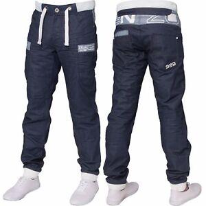 New ENZO Mens Cuffed Denim Joggers Jeans Black Blue Big King Sizes All Waists