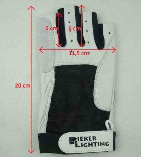 2 Pa XL fingerlos Rigger Roadie Gloves BluePort Segelhandschuhe Rindsleder Gr