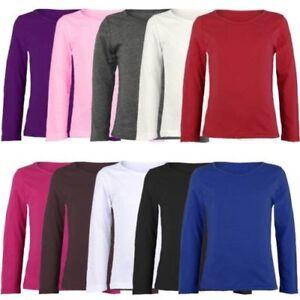 c9445adeeb7d9 Enfants Uni Manches Longues Haut Basique Garçon Fille T-Shirt Col ...