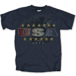 USA-Vintage-Eagle-Stars-patriotic-american-DARK-HEATHER-Adult-T-shirt