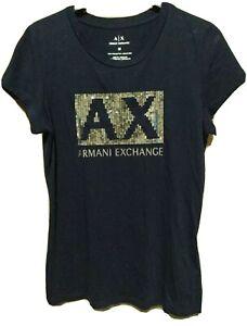 EUC A/X ARMANI EXCHANGE women's logo sequin S/S slim fit t-shirt in drk blue szM