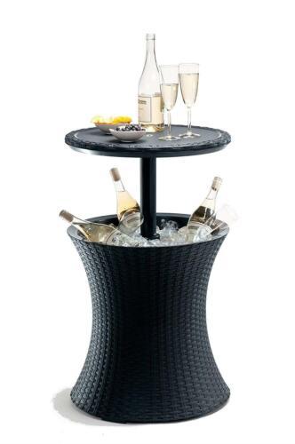 Table de jardin et boissons Cooler avec 30 L seau à glace noir aspect rotin NEUF