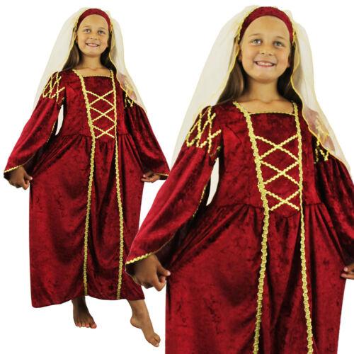 Riche Tudor Princesse robe rouge enfants historique School Victorian Fancy Dress