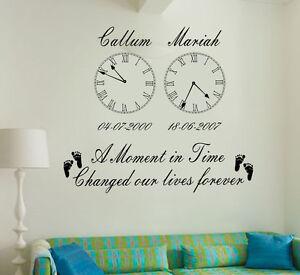 Personalized-Kids-Birth-Date-Vinyl-Wall-Art-2-Clocks-sticker-Living-room