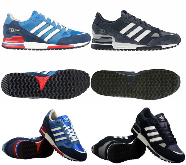 Adidas Unisex ZX750 Sports Gym Correr Entrenadores en azul y azul marino