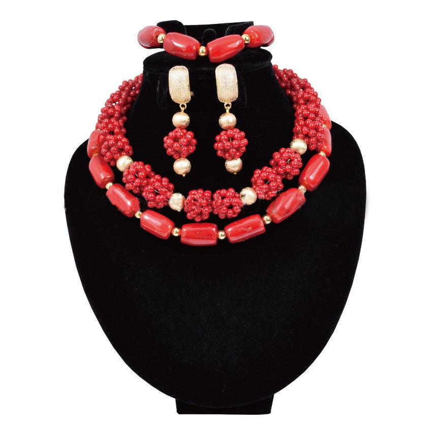 Perline Di Corallo africana Nigeriana Sposa Sposa Sposa Gioielli Collana Set 81d3bb