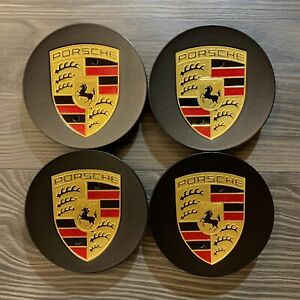 4x Original Porsche 992 991 997 996 Nabendeckel Felgendeckel schwarz matt NEU