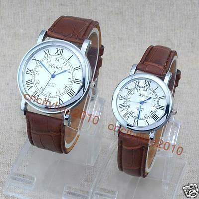 Business Lovers Watches Roman Numerals Leather Band Men Women Couple Wrist Watch