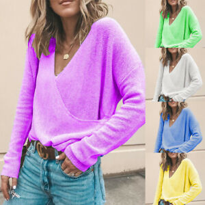 Women-Long-Sleeve-Blouse-Jumper-Tops-Casual-Loose-Wrap-V-Neck-Sweater-Pullover
