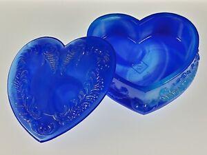 BLUE-SWIRL-SLAG-Covered-HEART-BOX-Boyd-039-s-Crystal-Art-Glass-Degenhart-1978-83-NOS