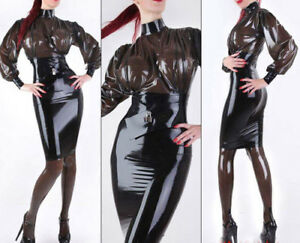 100/% Latex Rubber New Style Navy Blue Hoodie Dress Unique Skirt 0.4mm Size S-XXL