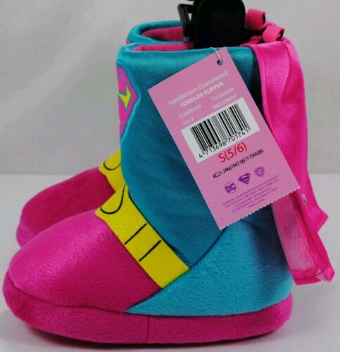 SuperGirl DC Comics Toddler Girl/'s Pink//Teal Boot Slip-On Slipper//Shoe 5//6-9//10