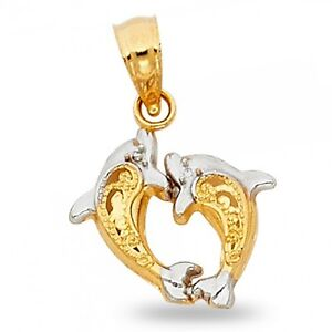 25mm 14K White Gold Dolphin Charm