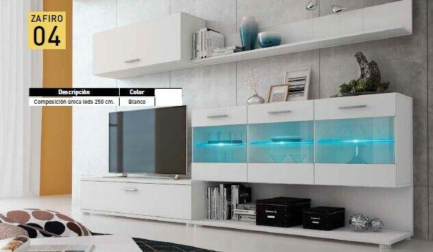 Mueble de TV completo modelo Zafiro con leds color Blanco ref-01 Nº4
