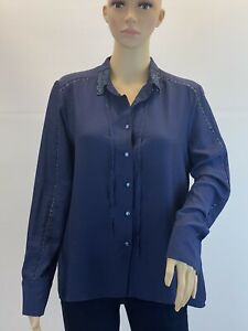 Grace-And-Mila-Sparkly-Sheer-Elegant-Boho-Button-Up-Blouse-Shirt-Top-Size-M