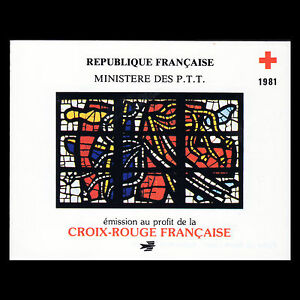 France-1981-Red-Cross-Booklet-Fine-Art-Stained-Glass-Sc-B540a-MNH