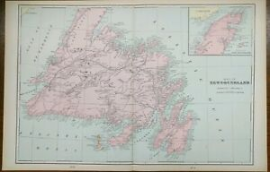 NEWFOUNDLAND-CANADA-1903-Vintage-Atlas-Map-22-034-x14-034-Old-Antique-ST-JOHNS-GANDER