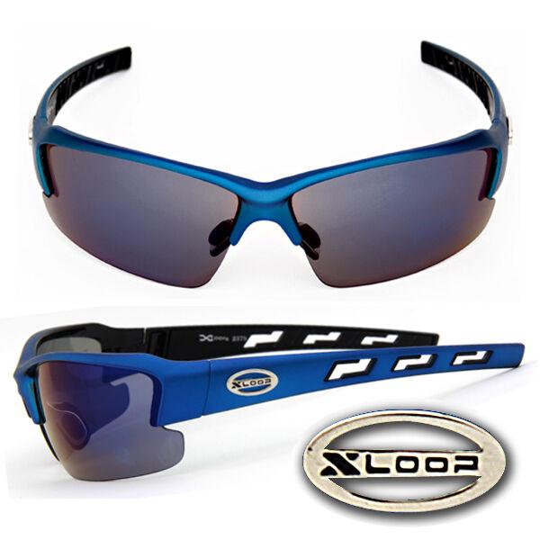 Acquista A Buon Mercato Xloop Sport Uv400 Occhiali Da Sole W/gratis Tasca- Opaca Blu Telaio Nero Lente-
