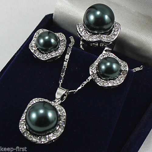 NEW CLEAR CRYSTAL 18KWGP SOUTH SEA SHELL PEARL EARRINGS RING NECKLACE PEARL SET