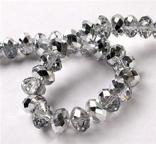 94-100 PCS 4 X 6 mm Faceted Silver Crystal Gemstone Abacus Faceted Loose Beads