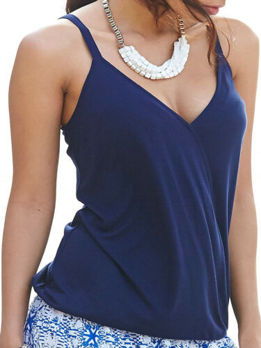 ex Anthology NAVY BLUE Jersey Wrap Front Camisole Vest Top 12 14 16 18 20 22 24