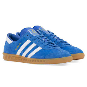 Details about ADIDAS HAMBURG S76697 MEN'S BLUE WHITE STRIPES SUEDE ORIGINAL SNEAKERS