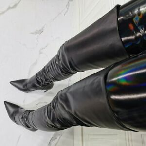 Sexy-Ladies-Thigh-High-Boots-Knee-High-Pointed-Toe-Side-Zip-Stiletto-Heels-Shoes