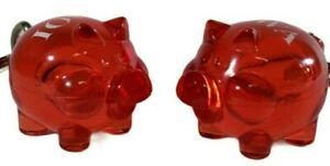 Lot of 2 Poul Willumsen 1992 Red Keychain IOWA pig Piglet Denmark Translucent