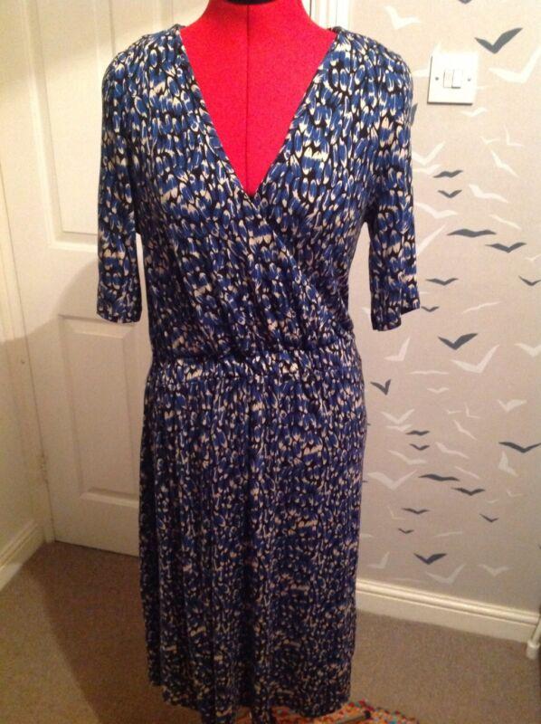 Nuevo Joules ex 10 12 14 16 Anita Corbata Azul Marino frontal Midi vestido Floral Jersey